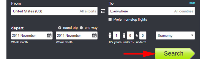 Skyscanner Everywhere Search tool