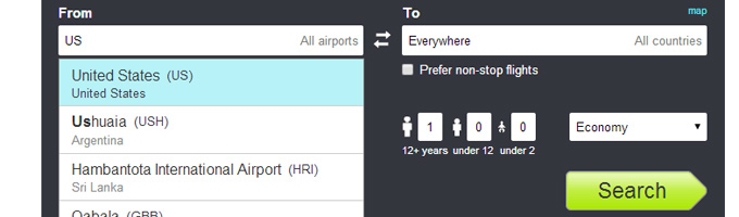 Using the Skyscanner Everywhere Search