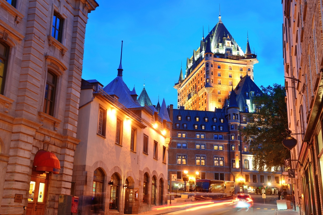 view of Quebec City's Chateau Frontenac by night. Places to visit in Canada.