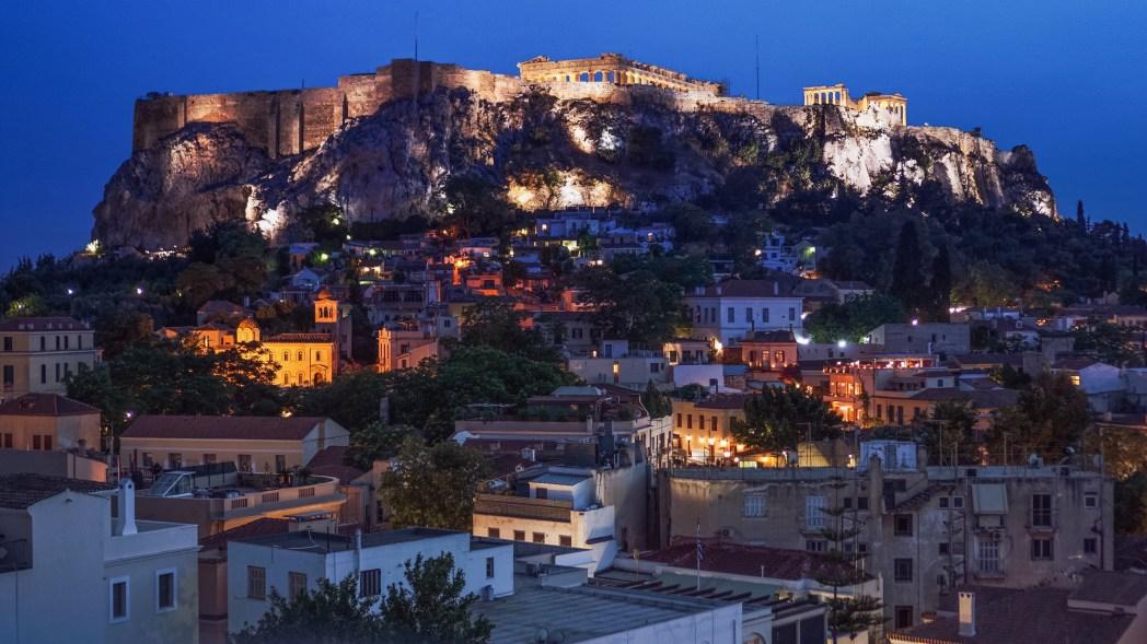 Athens city lights at night