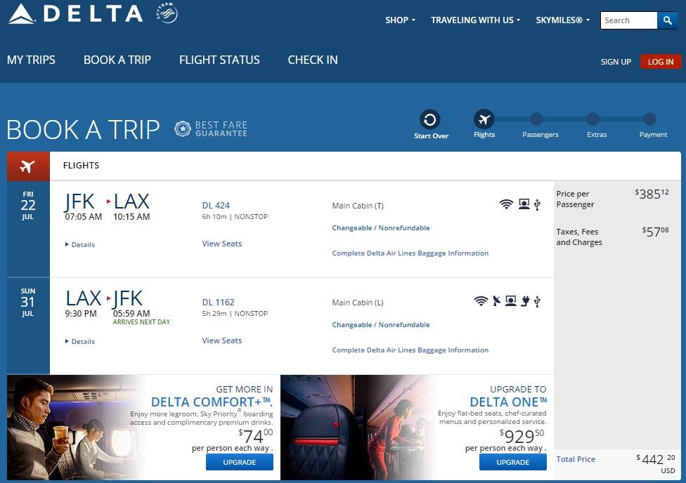 Delta flight search