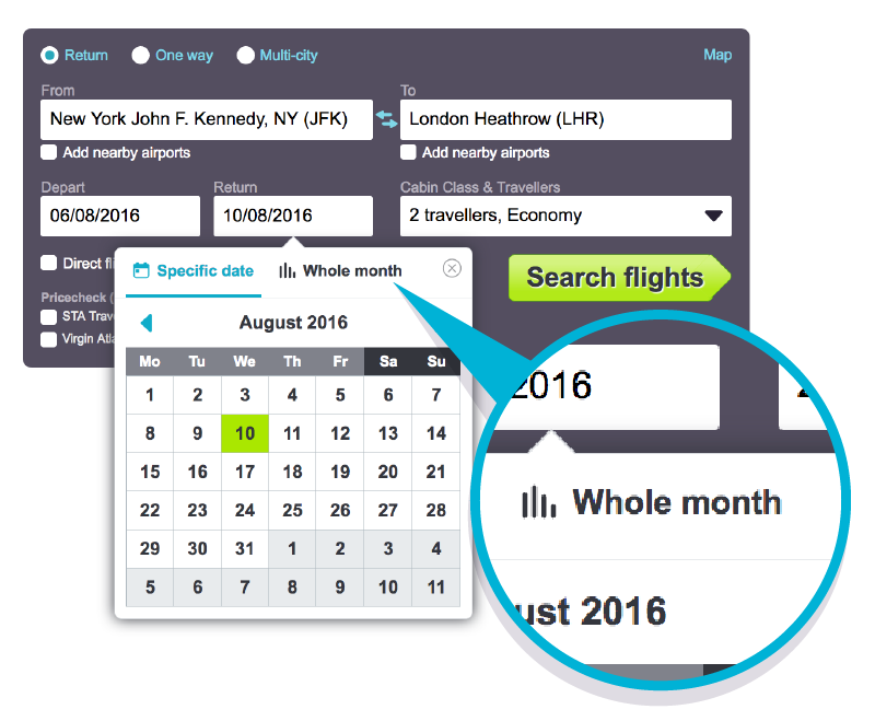 Destination Month View Desktop Search: Skyscanner Whole Month Search