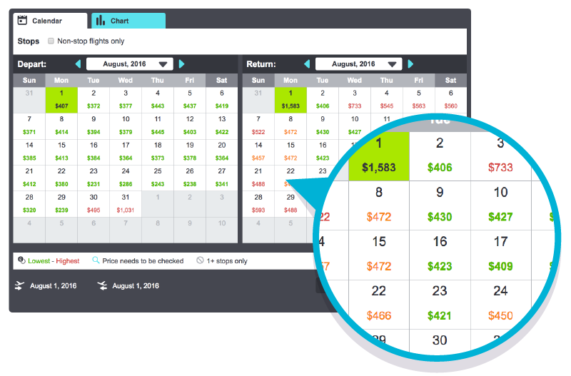 Choose and Search Month View Desktop Search: Skyscanner Whole Month Search