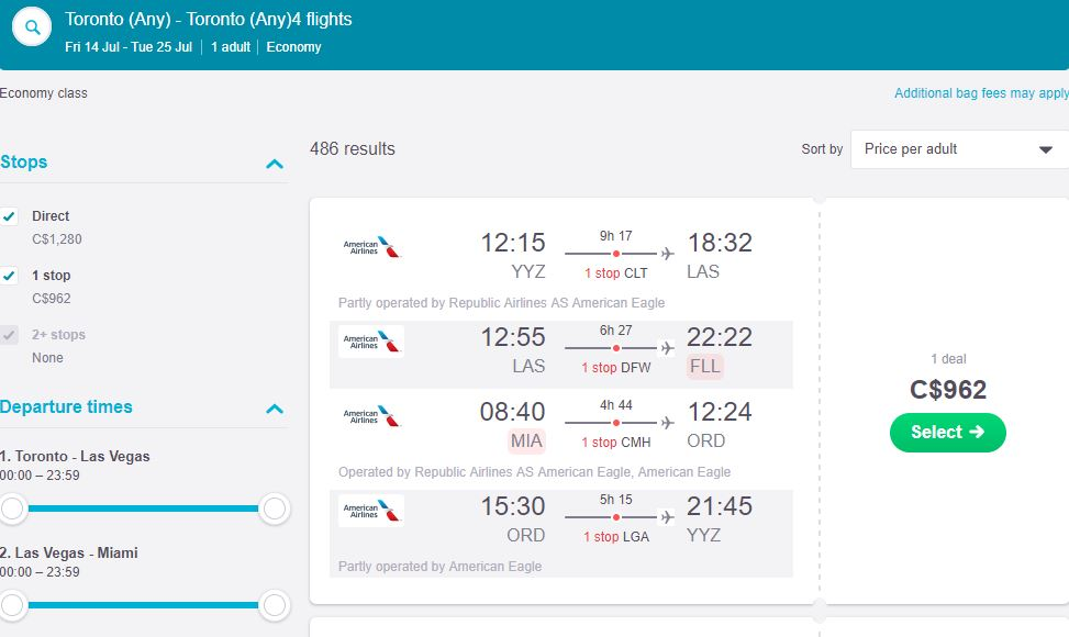 Multi-city Flight: Prices