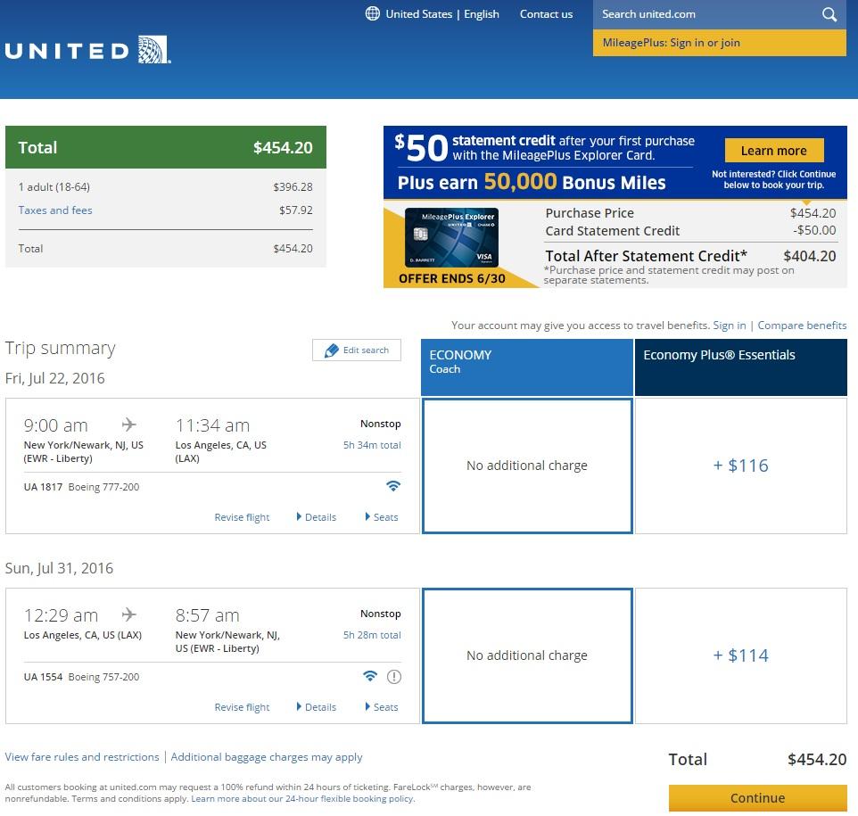 United flight search